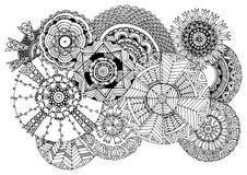 Jedenaście ornamentujących okregów - czarny kreskowy rysunek Obrazek dla pokryw, barwi stronę, karty, plakaty, tapety ilustracji