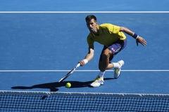 Jedenaście czasów wielkiego szlema mistrz Novak Djokovic Serbia w akci podczas jego round 4 dopasowania przy australianem open 20 Fotografia Royalty Free