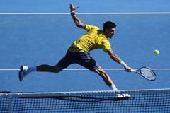 Jedenaście czasów wielkiego szlema mistrz Novak Djokovic Serbia w akci podczas jego round 4 dopasowania przy australianem open 20 Fotografia Stock