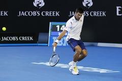 Jedenaście czasów wielkiego szlema mistrz Novak Djokovic Serbia w akci podczas jego round 4 dopasowania przy australianem open 20 Obraz Royalty Free