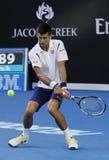 Jedenaście czasów wielkiego szlema mistrz Novak Djokovic Serbia w akci podczas jego round 4 dopasowania przy australianem open 20 Obrazy Stock