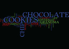 Jeder liebt Schokoladen-Chip Cookies Text Background Word-Wolken-Konzept Stockfoto