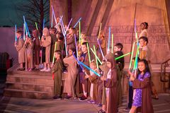 Jedi Knight Experience, Disney World, Travel, Hollywood Studios. Young kids and children go through Star Wars Jedi Knight training experience at Walt Disney stock photography