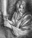 Jedi knight sketch. Hand drawn pencil sketch of a jedi knight with light saber and cloak royalty free illustration