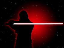 Jedi With Light Saber Royalty Free Stock Photos