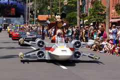 Jedi Mickey Mouse during the Star Wars Weekends 2014. Jedi Mickey Mouse during the during the Legends of the Force Motorcade Parade Star Wars Weekends 2014 at Stock Photo