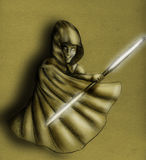 Jedi oscuro - bosquejo stock de ilustración