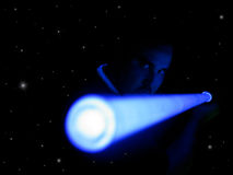 Jedi Tropper ready to fight. Man holding glowing light saber stock images
