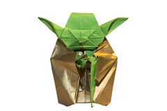 Jedi van origamiyoda op wit wordt geïsoleerd dat royalty-vrije stock foto