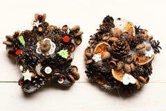 Jedlinowego drzewa rożki, dokrętki, acorns i susi cytrusy, obraz stock