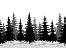 Jedlinowi drzewa, Bezszwowy krajobraz ilustracji