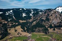 Jedlinowi drzewa i góry w Niemcy Zdjęcie Stock