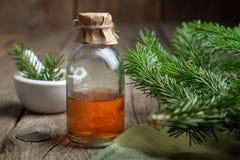 Jedlinowy aromatyczny olej Sosna istotny olej w przejrzystej szklanej butelce Iglaste gałąź i moździerz zdjęcie royalty free