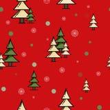 Jedlinowy lasowy czerwony bezszwowy wzór Zdjęcia Stock