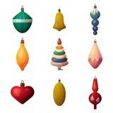 2017 jedliny dekoraci baubles i bokeh ornament Nowy rok, wesoło boże narodzenia, xmas glassware drzewny serce i dzwon royalty ilustracja
