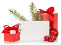 Jedliny gałąź, boże narodzenia bawi się, prezentów pudełka i Obrazy Royalty Free