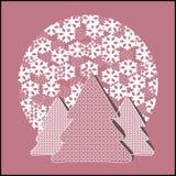 Jedliny z płatkami śniegu Zdjęcie Royalty Free