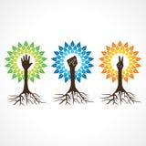 Jedność, zwycięstwo i pomocna dłoń, robimy drzewa Obraz Stock