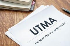 Jednolity przeniesienie Minors aktu UTMA konto zdjęcie stock