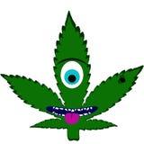 jednooki marihuana liść i pluskwa w abstrakcjonistycznej sztuki stylu, robić w nieznacznie psychodelicznym sposobie ilustracji