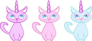 Jednorożec figlarki kotów Pastelowych kolorów Śliczny wektor ilustracji
