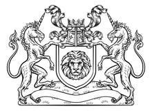 Jednorożec grzebienia osłony Heraldyczny żakiet ręki ilustracja wektor