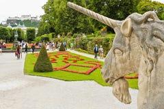 Jednorożec i Mirabell ogródy w Sazburg zdjęcie stock