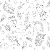 Jednorożec, lama i flaming, Czarny i biały abstrakcjonistycznego konturu bezszwowy wzór Moda ilustracyjny rysunek w nowożytnym st ilustracji