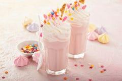 Jednorożec milkshakes z kropią obraz stock
