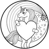 Jednorożec Round druk ilustracji