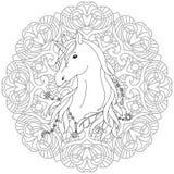 Jednorożec tatuażu kolorystyki strona Zdjęcia Stock