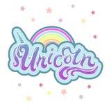 Jednorożec tekst jako logotyp, odznaka, łata i ikona odizolowywający na białym tle, ilustracji