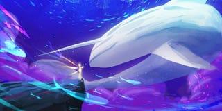 Jednorożec wieloryba świat SpitPaint, SpeedPaint Pojęcie sztuka ilustracji