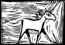 jednorożec woodcut royalty ilustracja
