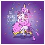 Jednorożec z flamingiem przyjaciele zawsze najlepsze Wektorowy powitanie samochód royalty ilustracja
