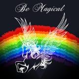 Jednorożec Kolorowy emblemat ilustracja wektor