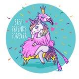 Jednorożec z flamingiem przyjaciele zawsze najlepsze Wektorowy powitanie samochód Obrazy Royalty Free