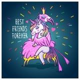 Jednorożec z flamingiem przyjaciele zawsze najlepsze Wektorowy powitanie samochód Obraz Royalty Free