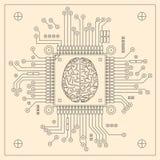 JEDNOSTKA CENTRALNA - komputerowy mózg ilustracja wektor