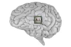 Jednostka centralna z ai mózg Fotografia Stock
