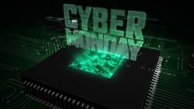 JEDNOSTKA CENTRALNA z na pokładzie cyber Poniedziałku holograma royalty ilustracja