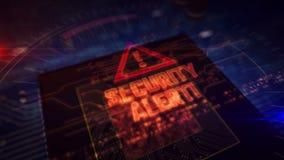 JEDNOSTKA CENTRALNA z na pok?adzie alarm bezpiecze?stwa holograma ilustracji