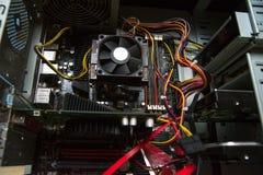 JEDNOSTKI CENTRALNEJ cooler na computer& x27; s płyta główna Zamyka w górę widok Obraz Royalty Free