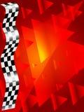 Jedwab sprawdzać flaga na czerwonym tle Zdjęcia Stock