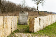 JEDWABNE - APRIL 6: Monument of the Jewish massacre in Jedwabne, Poland on April 6, 2014 Stock Photos