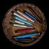Jedwabnicze nici na podsadzkowych przewoźnikach Zdjęcie Royalty Free