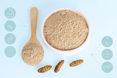 Jedwabników Pupae prochowe rzeczy robić gotujący insekta mięso dla jeść jako karmowy jadalny i medialny ikona symbolu odżywianie  obraz stock