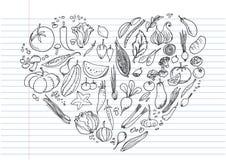Jedzeń doodles ustawiają, ręki rysować ikony ustawiać Fotografia Royalty Free