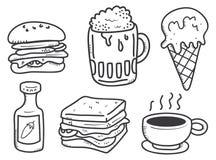 Jedzenia i napoju doodle Zdjęcia Stock