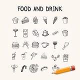 Jedzenia i napoju doodles ikony Obrazy Stock